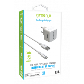KIT INTELLIGENT & RAPIDE : CHARGEUR SECTEUR 1 USB + CABLE LIGHTNING BLANC GREEN-E