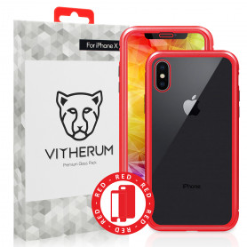 COQUE RENFORCEE MAGNETIQUE ROUGE + VERRE TREMPE 3D FULL GLUE POUR APPLE IPHONE X / XS - VITHERUM