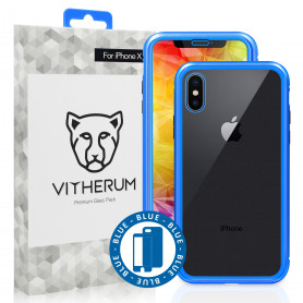 COQUE RENFORCEE MAGNETIQUE BLEUE + VERRE TREMPE 3D FULL GLUE POUR APPLE IPHONE X / XS - VITHERUM