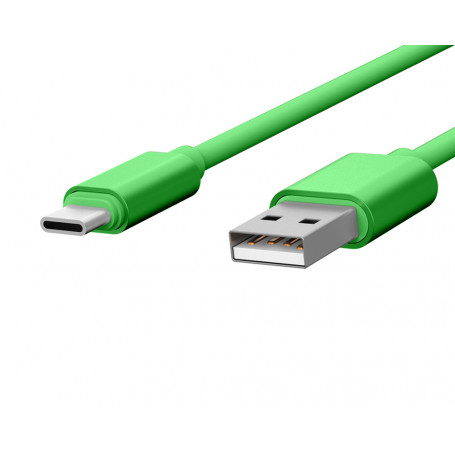 CABLE USB CHARGE & SYNCHRO VERS TYPE-C 1,7M VERT - JAYM® COLLECTION POP