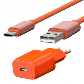 PACK CHARGEUR SECTEUR 1 USB 1A + CABLE USB VERS TYPE-C 1,7M ORANGES - JAYM® COLLECTION POP