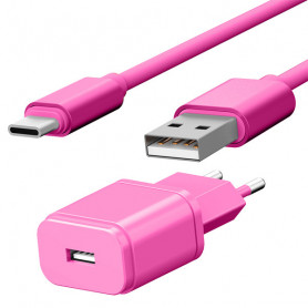 PACK CHARGEUR SECTEUR 1 USB 1A + CABLE USB VERS TYPE-C 1,7M ROSES - JAYM® COLLECTION POP