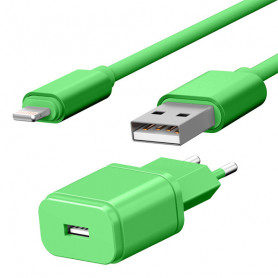 PACK CHARGEUR SECTEUR 1 USB 1A + CABLE USB VERS LIGHTNING 1,7M VERTS - JAYM® COLLECTION POP
