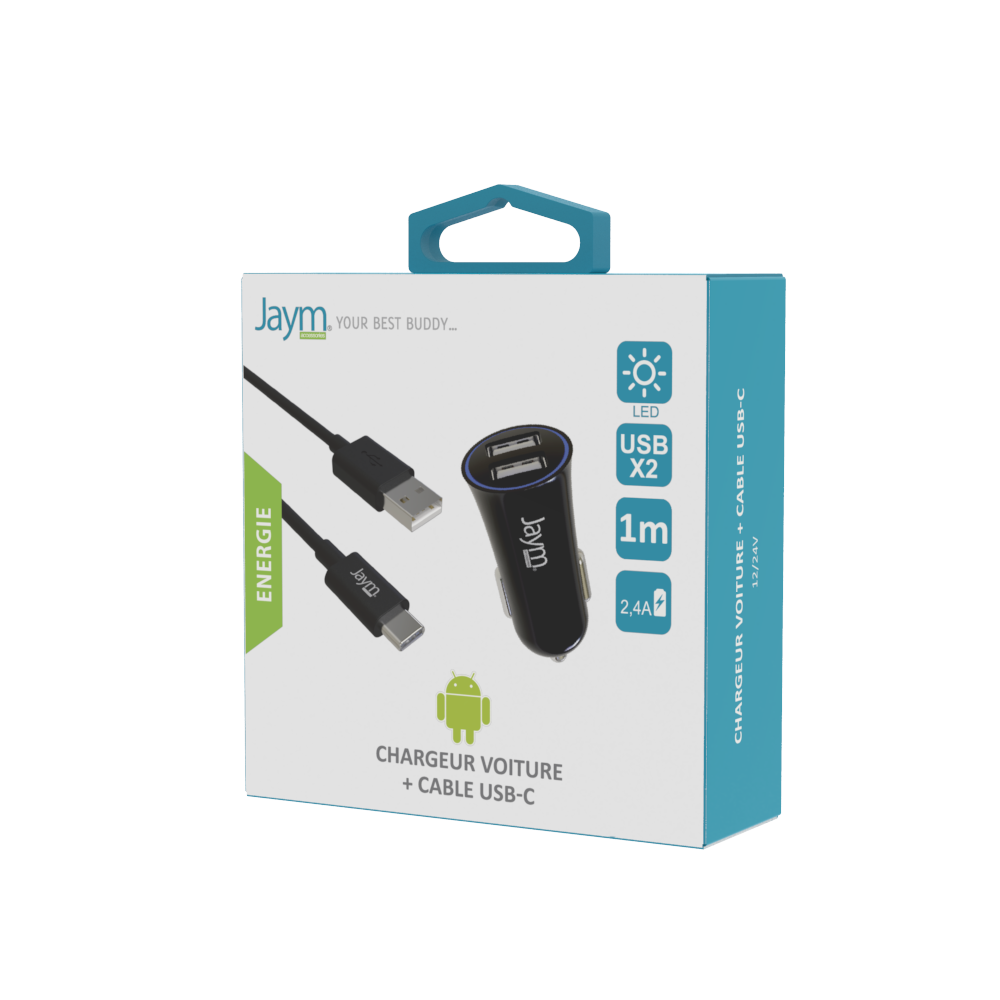 PACK CABLE TYPE-C 1M + CHARGEUR VOITURE 2 USB 12W NOIRS - JAYM®