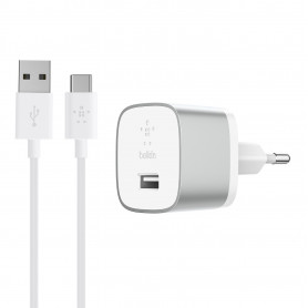 PACK CHARGEUR SECTEUR 18W QUICK CHARGE™ 3.0 + CABLE USB VERS USB-C 1.2M SILVER - BELKIN**