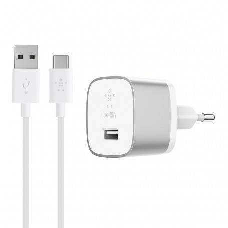 CHARGEUR SECTEUR BOOST-UP™ QUICK CHARGE™ 3.0 + CABLE USB VERS USB-C 1.2M SILVER - BELKIN