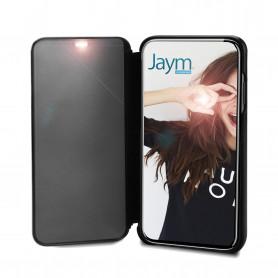 COQUE AVEC CLAPET TRANSPARENT NOIR FUMÉ POUR APPLE IPHONE X / XS - JAYM®