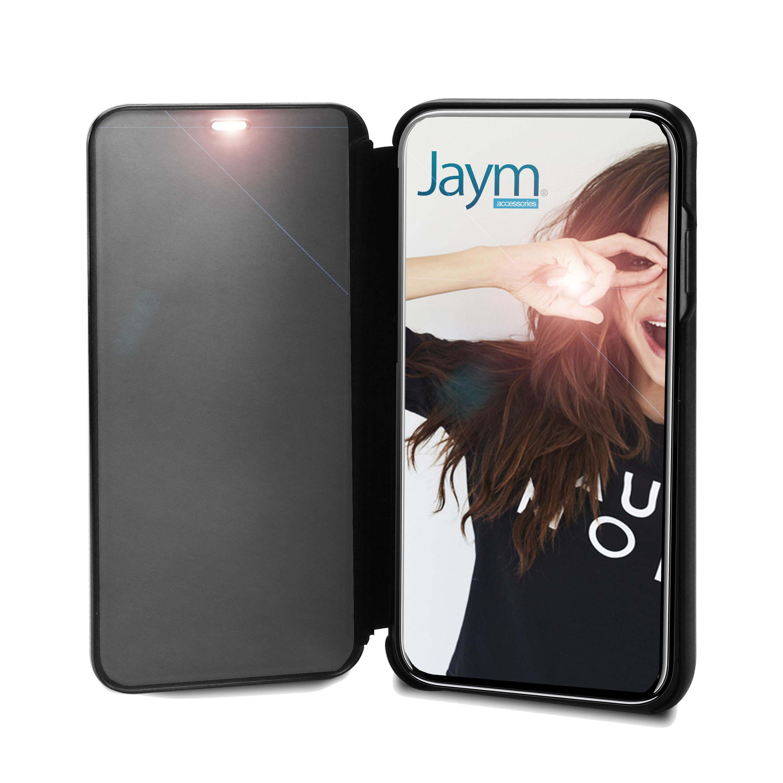 COQUE AVEC CLAPET TRANSPARENT NOIR FUMÉ POUR APPLE IPHONE XS MAX - JAYM®
