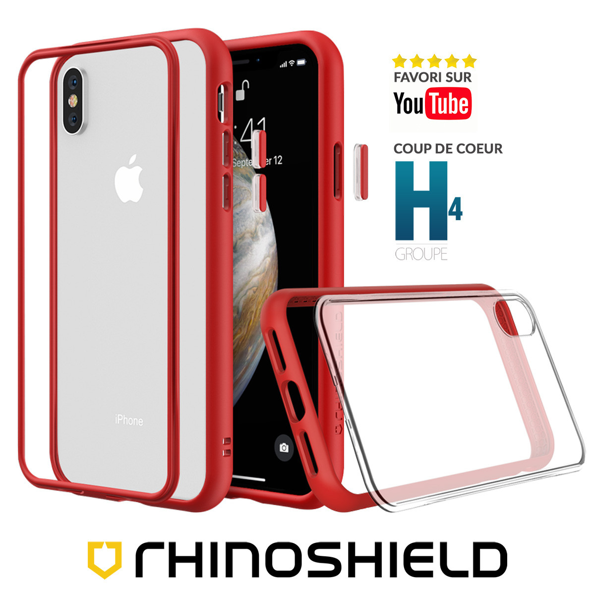 COQUE MODULAIRE MOD NX? ROUGE POUR APPLE IPHONE XS MAX - RHINOSHIELD?