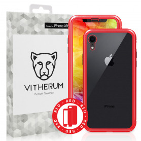 COQUE RENFORCEE MAGNETIQUE ROUGE + VERRE TREMPE 3D FULL GLUE POUR APPLE IPHONE XR - VITHERUM