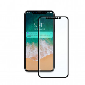 FILM ECRAN VERRE TREMPE INCURVE COMPATIBLE APPLE IPHONE X / XS NOIR (FULL AB GLUE) BULK