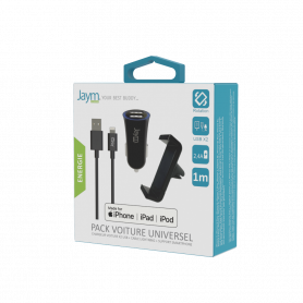 PACK VOITURE : SUPPORT + CAC 2 USB + CABLE LIGHTNING NOIRS MFI - JAYM®