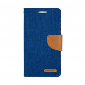 ETUI FOLIO STAND CANVAS DIARY COMPATIBLE SONY XPERIA 10 PLUS BLEU