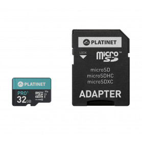 CARTE MEMOIRE MICRO SDHC CLASS 10 + ADAPTATEUR - 32GB 70MB/S - PLATINET