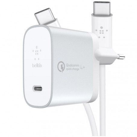 PACK CHARGEUR SECTEUR POWER DELIVERY 27W USB-C METALLIC + CABLE USB-C VERS USB-C - BELKIN
