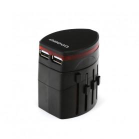 ADAPTATEUR SECTEUR 2 USB 4-EN-1 CHINE / UK / US / EU - OMEGA