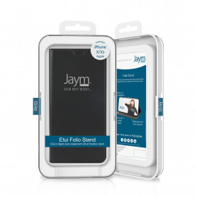 ETUI FOLIO STAND NOIR JAYM COMPATIBLE APPLE IPHONE X / XS