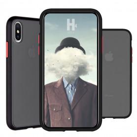 COQUE PEACH GARDEN BI-MATIERE AVEC DOS FUME POUR APPLE IPHONE XS MAX NOIRE