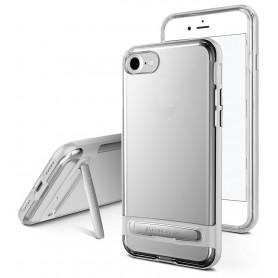 COQUE TRANSPARENTE AVEC BUMPER ARGENT ET FONCTION STAND POUR APPLE IPHONE X / XS