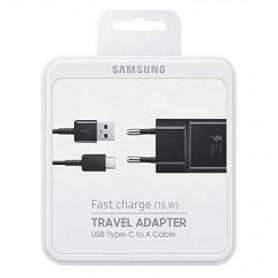 PACK CHARGEUR SECTEUR RAPIDE 15W + CABLE USB VERS USB-C NOIR ORIGINE SAMSUNG