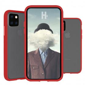 COQUE PEACH GARDEN BI-MATIERE AVEC DOS FUME POUR APPLE IPHONE 6.5 2019 ROUGE