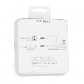 PACK CHARGEUR SECTEUR + CABLE MICRO-USB BLANC ORIGINE SAMSUNG