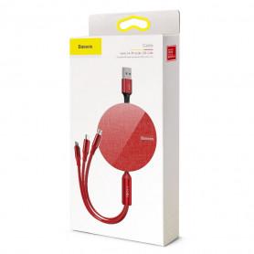 MULTI ADAPTATEUR ENROULEUR USB VERS MICRO-USB / USB-C / LIGHTNING - ROUGE - BASEUS