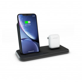 CHARGEUR INDUCTION FULL ALUMINIUM NOIR STAND + AIRPODS - FAST CHARGE QI 20W ZENS