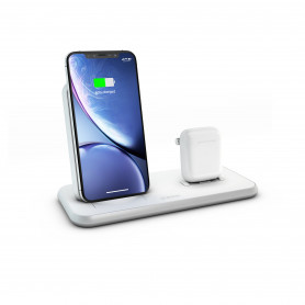 CHARGEUR INDUCTION FULL ALUMINIUM BLANC STAND + AIRPODS - FAST CHARGE QI 20W ZENS