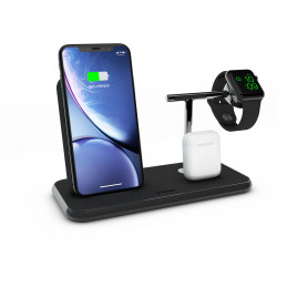CHARGEUR INDUCTION FULL ALUMINIUM NOIR STAND + AIRPODS + WATCH - FAST CHARGE QI 20W ZENS