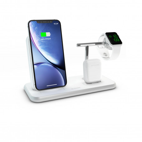CHARGEUR INDUCTION FULL ALUMINIUM BLANC STAND + AIRPODS + WATCH - FAST CHARGE QI 20W ZENS