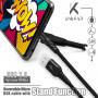 CABLE USB VERS MICRO-USB GRIS METAL AVEC FONCTION STAND ET RENFORCE KEVLAR - UNIKAB™️