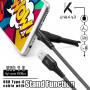 CABLE USB VERS TYPE-C GRIS METAL AVEC FONCTION STAND ET RENFORCE KEVLAR - UNIKAB™️