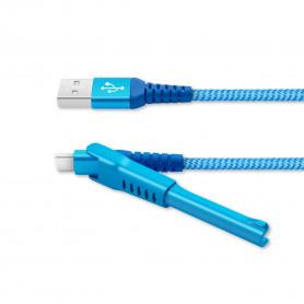CABLE USB VERS TYPE-C BLEU METAL AVEC FONCTION STAND ET RENFORCE KEVLAR - UNIKAB™️