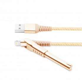 CABLE USB VERS LIGHTNING MFI OR AVEC FONCTION STAND ET RENFORCE KEVLAR - UNIKAB™️
