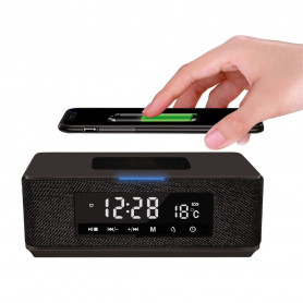 ENCEINTE PORTABLE BLUETOOTH 10W RADIO-REVEIL FM + CHARGE INDUCTION QI