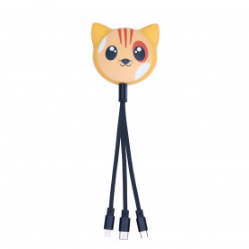 CABLE RETRACTABLE MULTI-CONNECTEURS 3-EN-1 ANIMALS CHAT - MOB