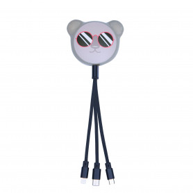 CABLE RETRACTABLE MULTI-CONNECTEURS 3-EN-1 ANIMALS KOALA - MOB