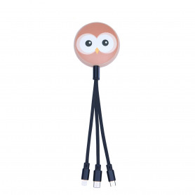 CABLE RETRACTABLE MULTI-CONNECTEURS 3 EN 1 ANIMALS HIBOU - MOB