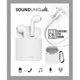 PACK ECOUTEURS TRUE WIRELESS SANS FILS BLANCS + ETUI + CORDONS - SOUND UNIQ®