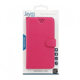 ETUI FOLIO UNIVERSEL STAND ET COULISSANT ROSE TAILLE M - JAYM®