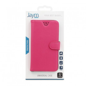 ETUI FOLIO UNIVERSEL STAND ET COULISSANT ROSE TAILLE S - JAYM®