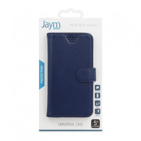 ETUI FOLIO UNIVERSEL STAND ET COULISSANT BLEU TAILLE S - JAYM®