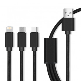 CABLE 3-EN-1 USB VERS MICRO-USB / USB-C / LIGHTNING - NOIR