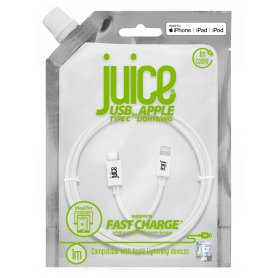 CABLE 1M CHARGE & SYNCHRO TYPE-C POWER DELIVERY VERS LIGHTNING MFI - BLANC - JUICE®