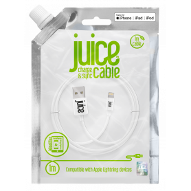 CABLE 1M CHARGE & SYNCHRO USB VERS LIGHTNING MFI - BLANC - JUICE®