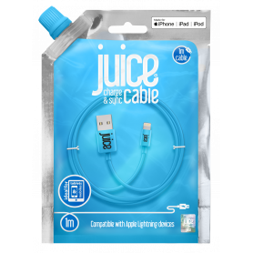 CABLE 1M CHARGE & SYNCHRO USB VERS LIGHTNING MFI - BLEU - JUICE®