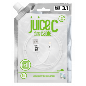 CABLE 1M CHARGE & SYNCHRO USB VERS TYPE-C - BLANC - JUICE®
