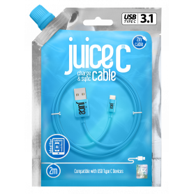 CABLE 2M CHARGE & SYNCHRO USB VERS TYPE-C - BLEU - JUICE®