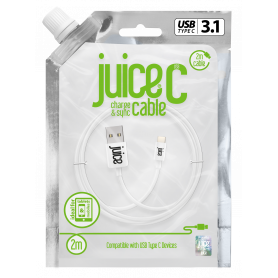 CABLE 2M CHARGE & SYNCHRO USB VERS TYPE-C - BLANC - JUICE®